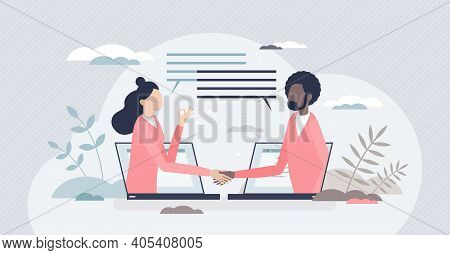 Virtual Deal With Distant Online Agreement Handshake Tiny Person Concept