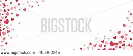 Heart Confetti Frame. Celebration Banner. Bright Pink Hearts Falling On Long Border. Valentines Day