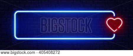 Neon Long Frame With Heart. Bright Night Neon Signboard On Brick Wall With Backlight. Romantic Dinne