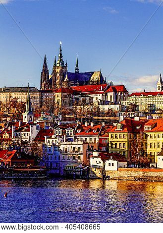 Beautiful View On Old Town Prague, Czechia. Painted Style Illustration.
