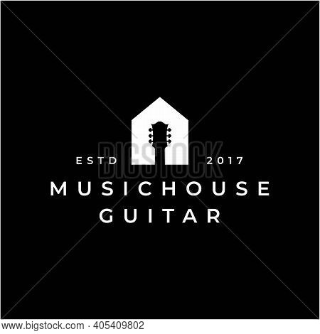 Guitar And House For Music And House Logo Design