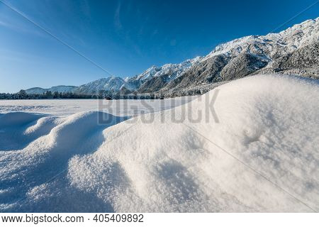 Snow Covered Rocky Austrian Mountains With Blurred Sparkeling Snow Heaps, Wildermieming, Tirol, Aust