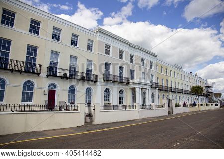Walton On The Naze, Essex, Uk, July 17, 2020. Traditional Georgian Houses On The Seafront. Walton On