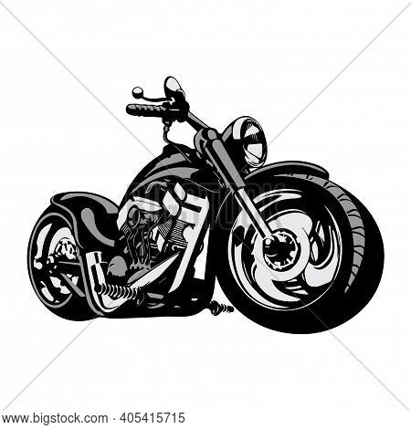 Stylized Vector Image Of A Custom Motorcycle