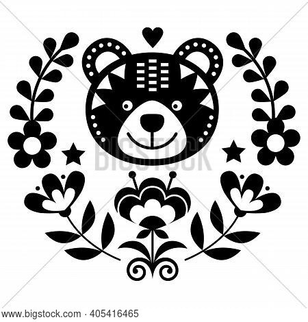 Scandinavian Bear Folk Art Vector Round Pattern With Flowers And Wreath, Nordic Floral Black And Whi