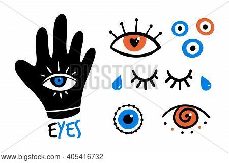 Set, Collection Of Colorful And Decorative Eyes Icons, Evil Eyes Symbols. Intuition And Spirituality