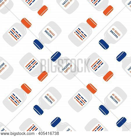 Vaccine Bottles, Ampules Vector Cartoon Style Seamless Pattern Background. Vaccination Concept.
