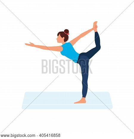 Yoga At Home. Woman Does Yoga Standing On One Leg. Healthy Way Of Life. Cartoon Character Demonstrat