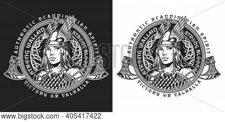 Viking Round Vintage Label In Monochrome Style With Battle Axes And Beautiful Valkyrie In Winged Hel