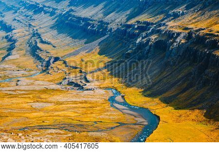 Spectacular summer view of Berufjardara river. Location place East Fjords region of Iceland, Europe. Image of exotic world landmark. Picturesque photo wallpaper. Discover the world of beauty.