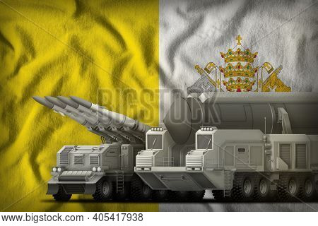 Rocket Forces On The Holy See Flag Background. Holy See Rocket Forces Concept. 3d Illustration