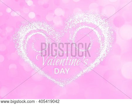 Happy Valentines Day. Pink Romantic Love Background. Hearts Made Of Particles Isolated On Bokeh Back
