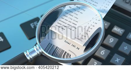 Sales Receipt And Magnifier On Computer Keyboard Background. 3D Illustration