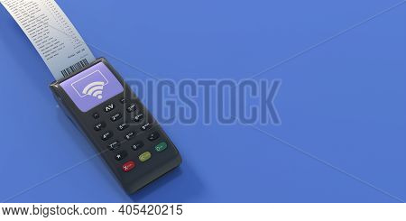 Pos Terminal And Paper Receipt On Blue Background. 3D Illustration