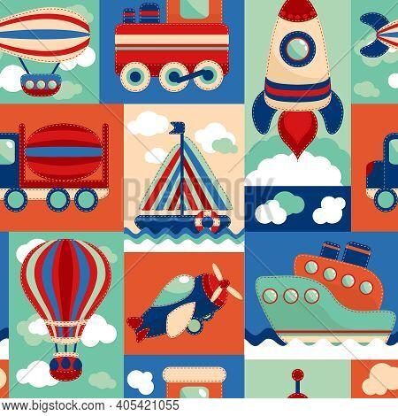 Toy Transport Cartoon Seamless Pattern With Airplane Aerostat Sail Yacht Vector Illustration