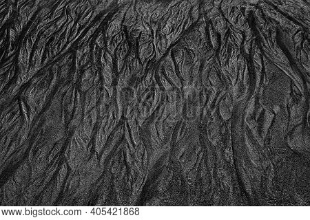 Textures In The Sand. Black And White