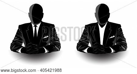 Picture Of A Man In A Jacket Sitting At The Table - Vector Illustration