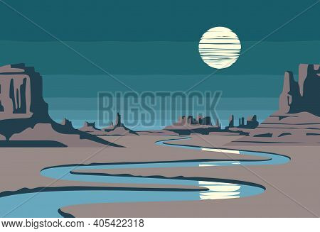 Night Landscape With A Lifeless Valley, Mountains, A Winding River And A Full Moon In The Sky. Weste