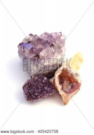Beautiful Gems. Amethyst Drusen And Agate Geode With Multi-colored Quartz Crystals.