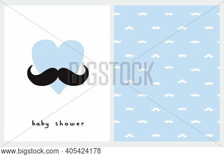 Aby Shower Card. Seamless Vector Pattern With White Moustaches Isolated On A Pastel Blue Background.