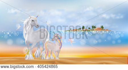 Unicorn Family Walking On Sand Beach Cute Little Fairies Flying In The Morning,tropical Sea With Blu