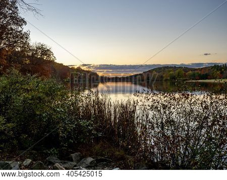 Sunset At Keystone Lake In Keystone State Park In West Moreland County In The Laurel Highlands Of Pe