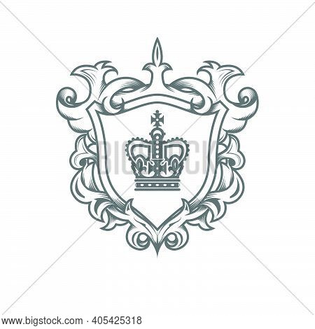 Heraldic Monarch Blazon, Imperial Coat Of Arms With Shield And Ornate Pattern, Royal Ancestral Crest