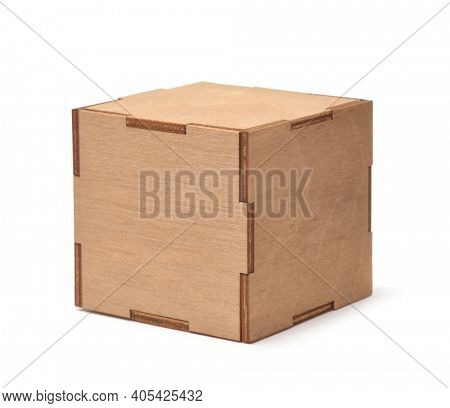 Decorative cubic plywood box isolated on white