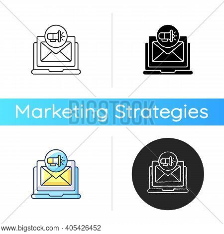 Direct Marketing Icon. Organizations Communicate Directly To Selected Customer And Supply Method For