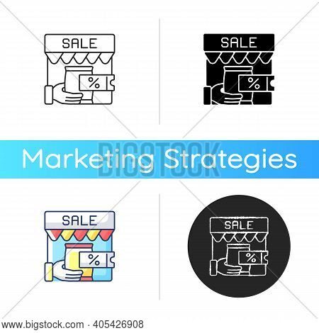 Transactional Marketing Icon. Business Strategy That Focuses On Single Transactions. Different Sales