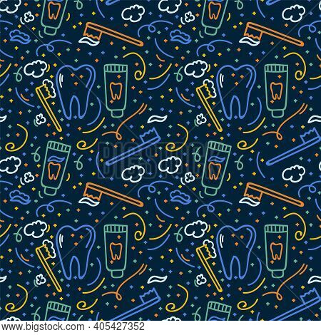 Brushing Teeth Pattern. Hand-drawn Children's Dentistry. The Texture With A Toothbrush, Toothpaste A