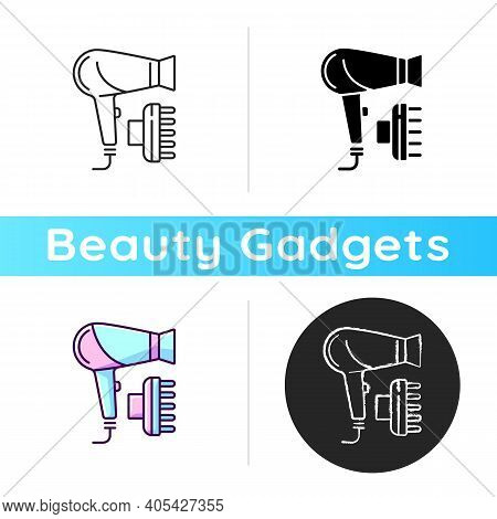 Hair Dryer Icon. Drying And Styling Hair. Hand-held Electric Blower. Preventing Frizz. Hairstyling A