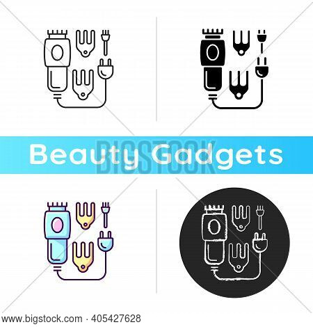 Electric Hair Clippers Icon. Hair Trimmer. Hairstyling Appliance. Sharpened Comb-like Blades. Beauty