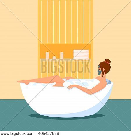 A Woman Takes A Bath With A Mask On Her Face. Home Spa Salon. A Relaxing Bath With Candles And Foam