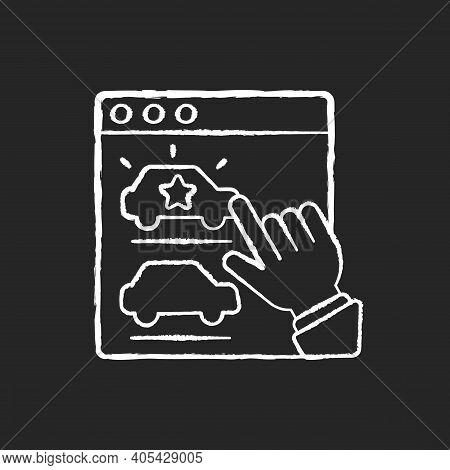 Desirable Chalk White Icon On Black Background. Pleasing Brand Product. Customer Interest And Satisf