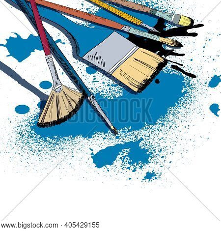Decorative Flat Brushes Paint Smear Strokes And Dip Pen Ink Blotches Template Poster Doodle Sketch V