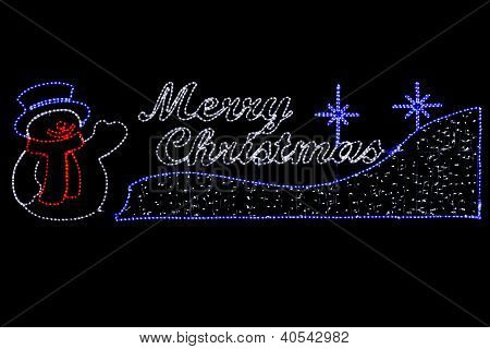 Merry Christmas Rope Light Street Decoration on Black Background