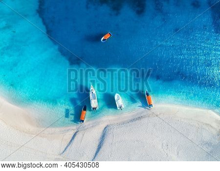Aerial View Of The Yachts And Fishing Boats On Tropical Sea Coast With White Sandy Beach At Sunset I