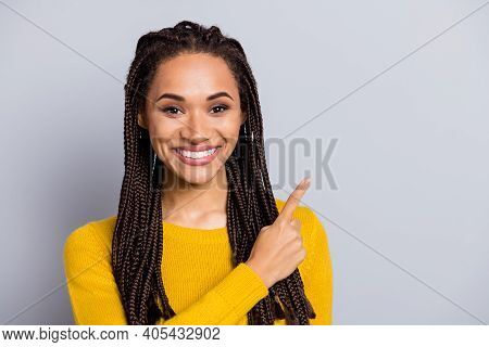 Photo Of Young Black Woman Happy Smile Point Finger Empty Space Advert Promo Choice Recommend Isolat