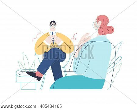 Medical Insurance -psychological Support -modern Flat Vector Concept Digital Illustration Of A Thera