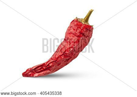 Red Pepper. Dry Peppers Isolated On White Background. Hot Chili Peppers. Spices For Cooking.
