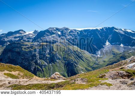 Mountain Glaciers Landscape View From The Petit Mont Blanc Summit In Pralognan La Vanoise, French Al