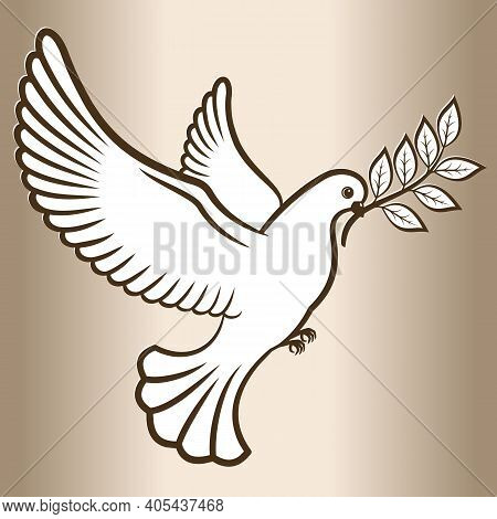 Pigeon Symbol Of Peace. White Dove Flying With An Olive Branch. Vector Illustration.