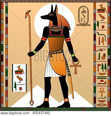 Religion Of Ancient Egypt.  Deity With A Jackal Head. Anubis Is The God Of The Afterlife, The Underw