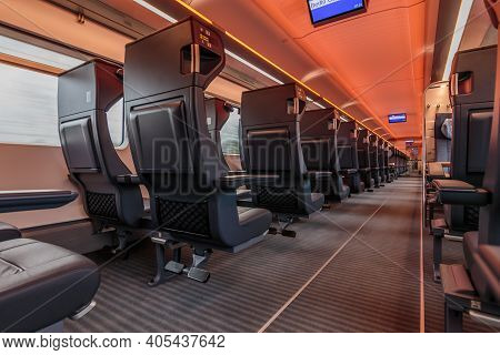 View Of The First Class Of The German Railways. Empty Seats In The Car Compartment. No People On The