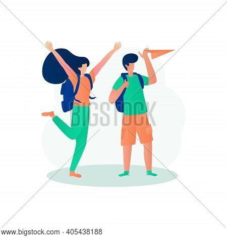 Tourist Couple Enjoying Vacation Time Illustration Concept Vector