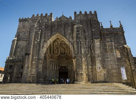 Tui, Spain - August 14, 2018. Cathedral Of Saint Mary, In The City Of Tui, Province Of Pontevedra, S