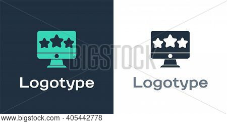 Logotype Five Stars Customer Product Rating Review Icon Isolated On White Background. Favorite, Best