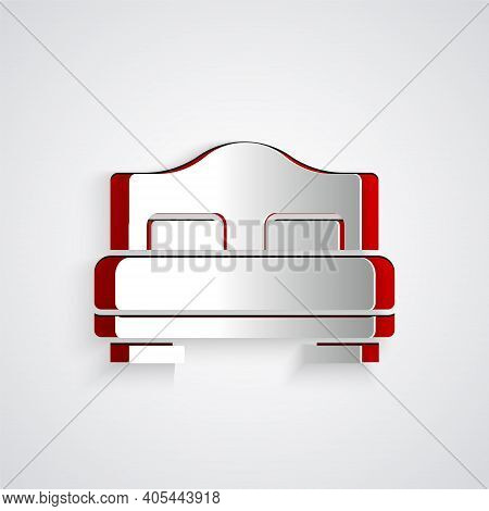 Paper Cut Hotel Room Bed Icon Isolated On Grey Background. Paper Art Style. Vector