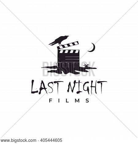 Clapperboard On Cracked Ground At Night And Crow Illustration Logo. Horror Movie Logo Design Inspira